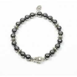 Bracelet Hématite brillante et tête de Bouddha argentée