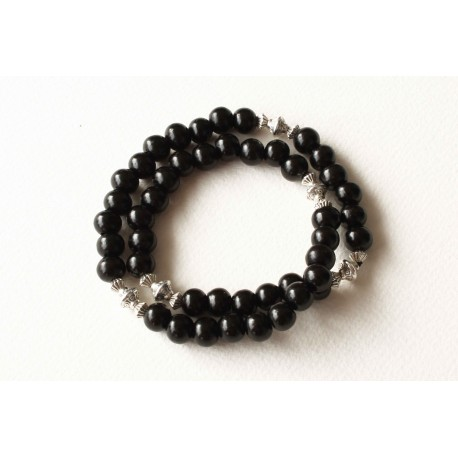Bracelet bois de santal noir double tour