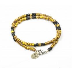 Bracelet double tour Matubo Picasso jaune et noir mat