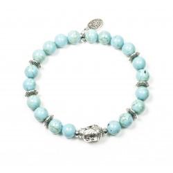 Bracelet Howlite turquoise et tête de Bouddha argentée