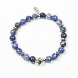 Bracelet Sodalite and skull in patinated pewter