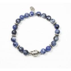 Bracelet Sodalite et tête de Bouddha argentée