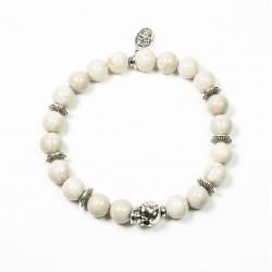 Bracelet Riverstone ivoire et tête de mort étain patiné