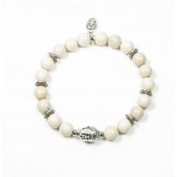 Bracelet Riverstone ivoire et tête de Bouddha argentée