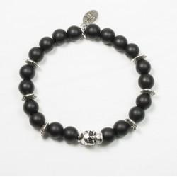 Bracelet Onyx noir mat et tête de mort plaqué argent