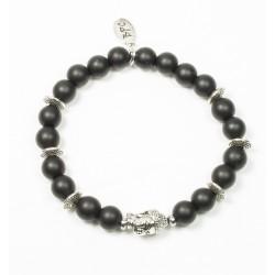 Bracelet Onyx noir mat et tête de Bouddha argentée