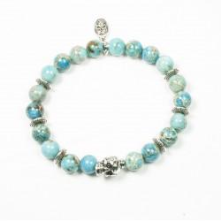 Bracelet Jaspe impérial turquoise et tête de mort plaqué argent