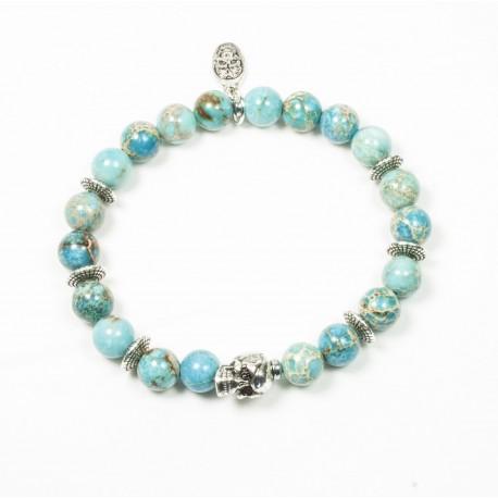 Bracelet Jaspe impérial turquoise et tête de mort étain patiné