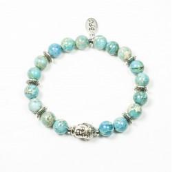 Bracelet Jaspe impérial turquoise et tête de Bouddha argentée