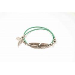 Bracelet lacet cuir vert turquoise double tour personnalisé