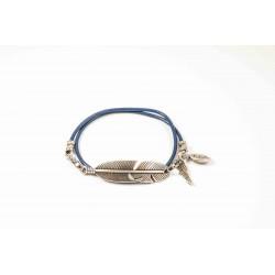 Bracelet lacet cuir Bleu roi double tour personnalisé