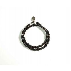 Bracelet double tour Matubo noir mat et cuivre