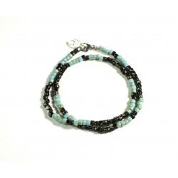 Bracelet double tour Matubo Picasso turquoise et noir 3CUT