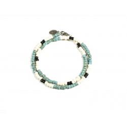 Bracelet double tour Matubo Picasso turquoise 3CUT, noir & ivoire