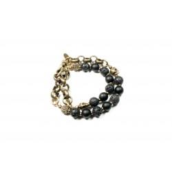 Bracelet double Pierre de lave, Onyx noir mat et chaine