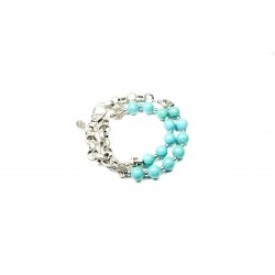 Bracelet double Howlite turquoise et chaine