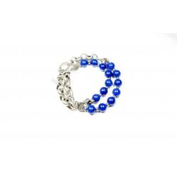 Bracelet double Jade de montagne bleu et chaine