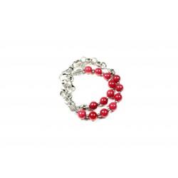 Bracelet double Jade de montagne rouge et chaine