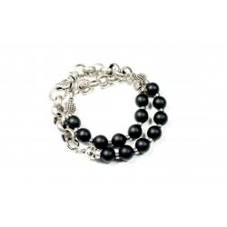 Bracelet double Onyx noir mat et chaine