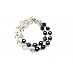 Bracelet double Oeil de tigre bleu et chaine