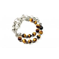 Bracelet double Oeil de tigre marron et chaine