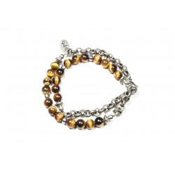 Bracelet double mini Oeil de tigre et chaine