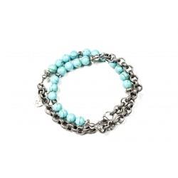 Bracelet double mini Howlite turquoise et chaine