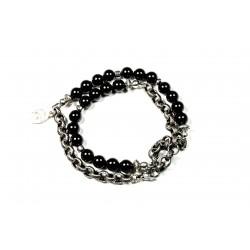 Bracelet double mini Onyx noir brillant et chaine