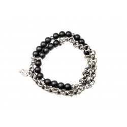 Bracelet double mini Onyx noir mat et chaine