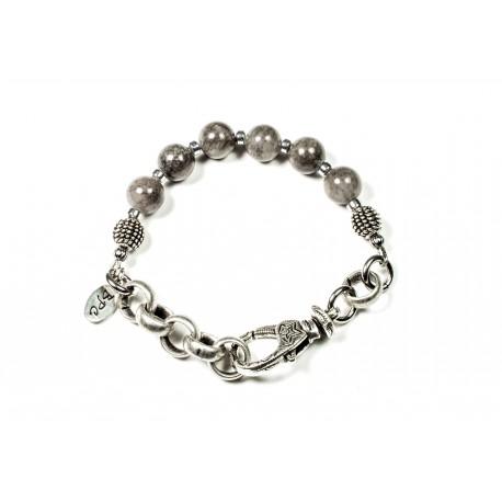 Bracelet Jade de montagne gris et chaine