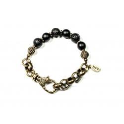 Bracelet Pierre de lave, Onyx noir mat et chaine