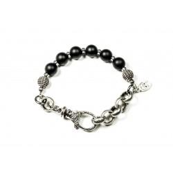 Bracelet Onyx noir mat et chaine