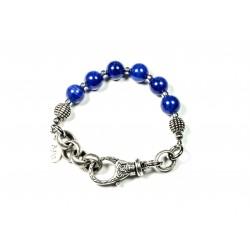 Bracelet Jade de montagne bleu et chaine