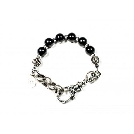 Bracelet Onyx noir brillant et chaine