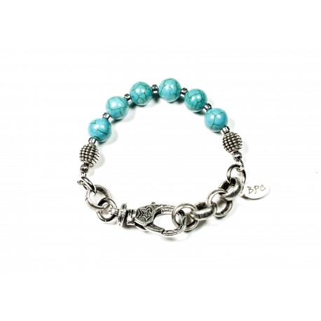 Bracelet Howlite turquoise et chaine