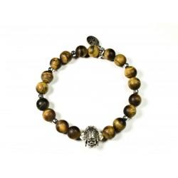 Bracelet Oeil de tigre mat et Indian Skull