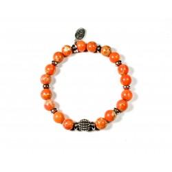 Bracelet Jaspe Impérial orange et Hématite