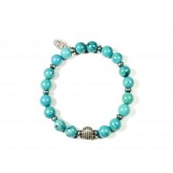 Bracelet Magnesite turquoise et Hématite