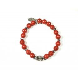 Bracelet Jade de montagne rouge et Hématite