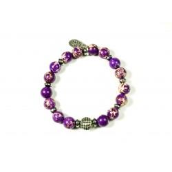 Bracelet Jaspe impérial violet et Hématite