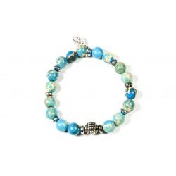 Bracelet Jaspe impérial bleu turquoise et Hématite