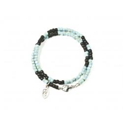 Bracelet double tour Matubo Picasso turquoise et noir mat