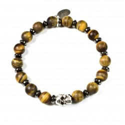Bracelet Oeil de tigre mat et tête de mort plaqué argent