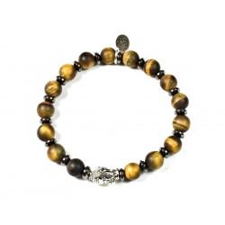 Bracelet Oeil de tigre mat et tête de Bouddha argentée
