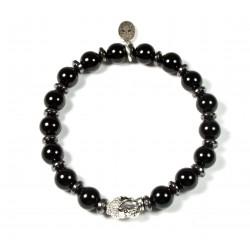 Bracelet Onyx brillant et tête de mort plaqué argent