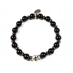 Bracelet Onyx noir brillant et tête de mort plaqué argent