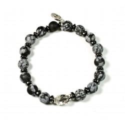 Bracelet Obsidienne Flocon Mat et tête de Bouddha argenté