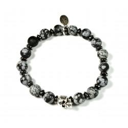 Bracelet Obsidienne Flocon Mat et tête de mort étain patiné