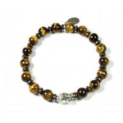 Bracelet Œil de tigre et tête de Bouddha argenté