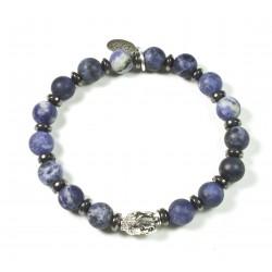 Bracelet Sodalite mat et tête de Bouddha argenté
